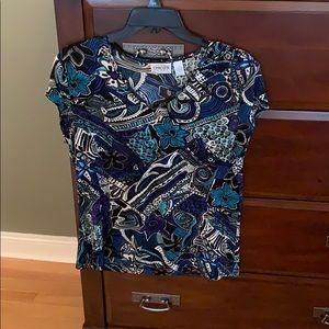 Chico's travelers black blue floral vneck Shirt